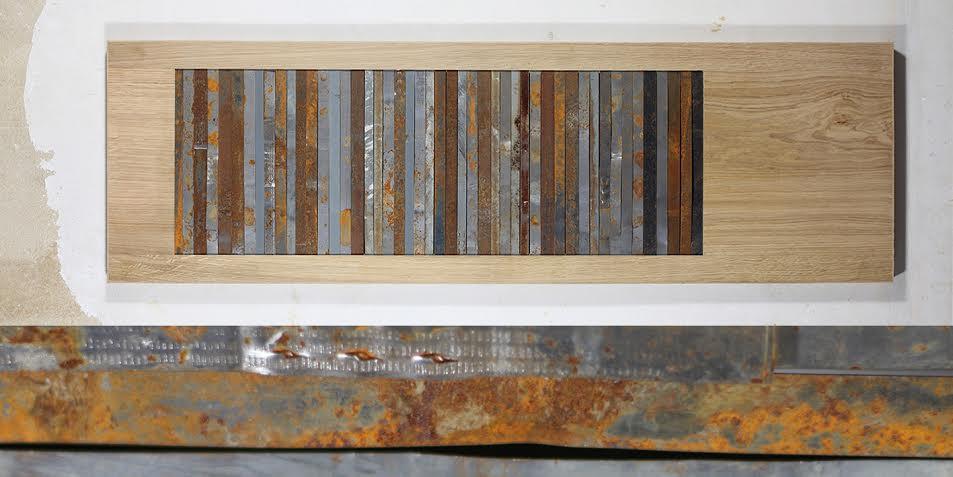 SHEETMETAL STRIPES Sheet metal strips (found at construction site) 116 x 35 cm, natural oak frame 2013 Photo: Ignatz Deckardt, 1,550 €