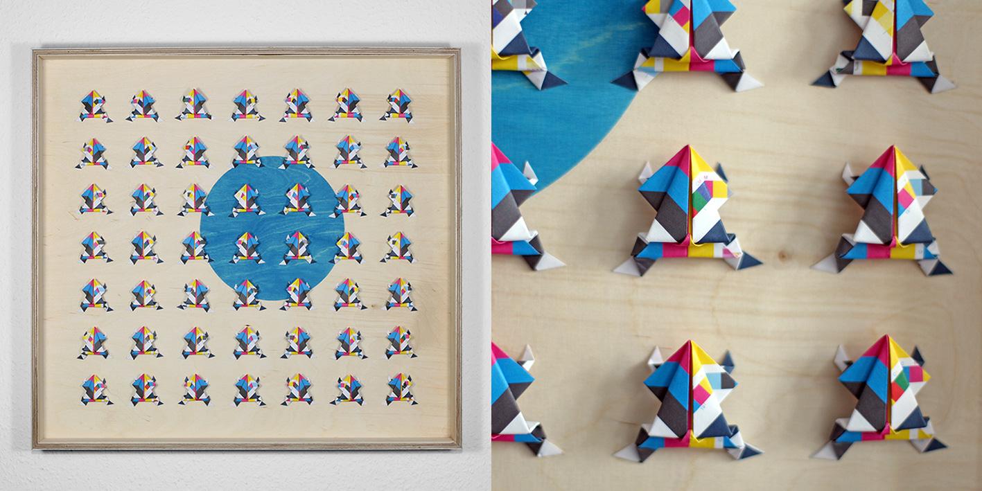 Printed Frogs, CMYK/skala printed cut paper, birch multiplex frame, 58 x 54 cm, 2013, Photo: Ignatz Deckardt, 950 €
