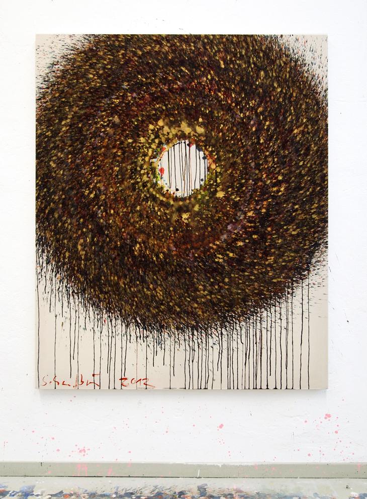 Großer Kreis, 174 x 144 cm, indian ink, ink on nettle, 2012, copyright: VG Bild-Kunst, 4.800 €