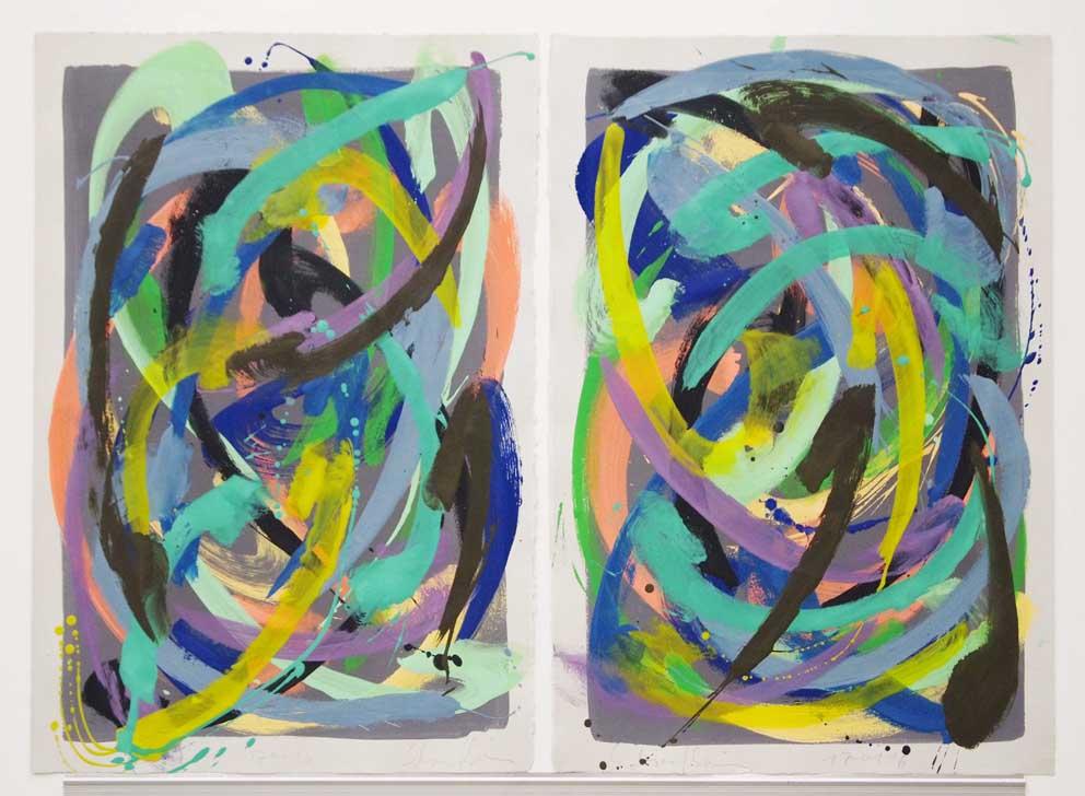 o.T (Metall), 2015/16 Diptych, je 78 x 56 cm, egg tempera on hand-made paper, grey grounding, 2015, copyright: VG Bild-Kunst, 860 €