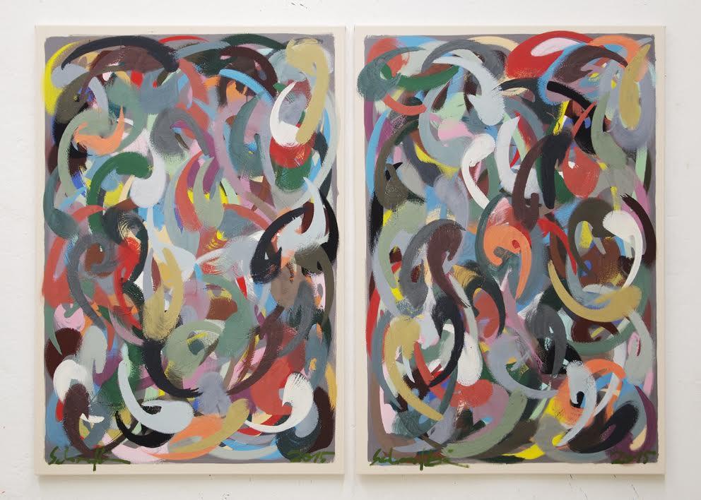 o.T. (große Versuchung auf Grau II), Diptych, each 130 x 90 cm, egg tempera on canvas, 2015, copyright: VG Bild-Kunst, 4.200 €