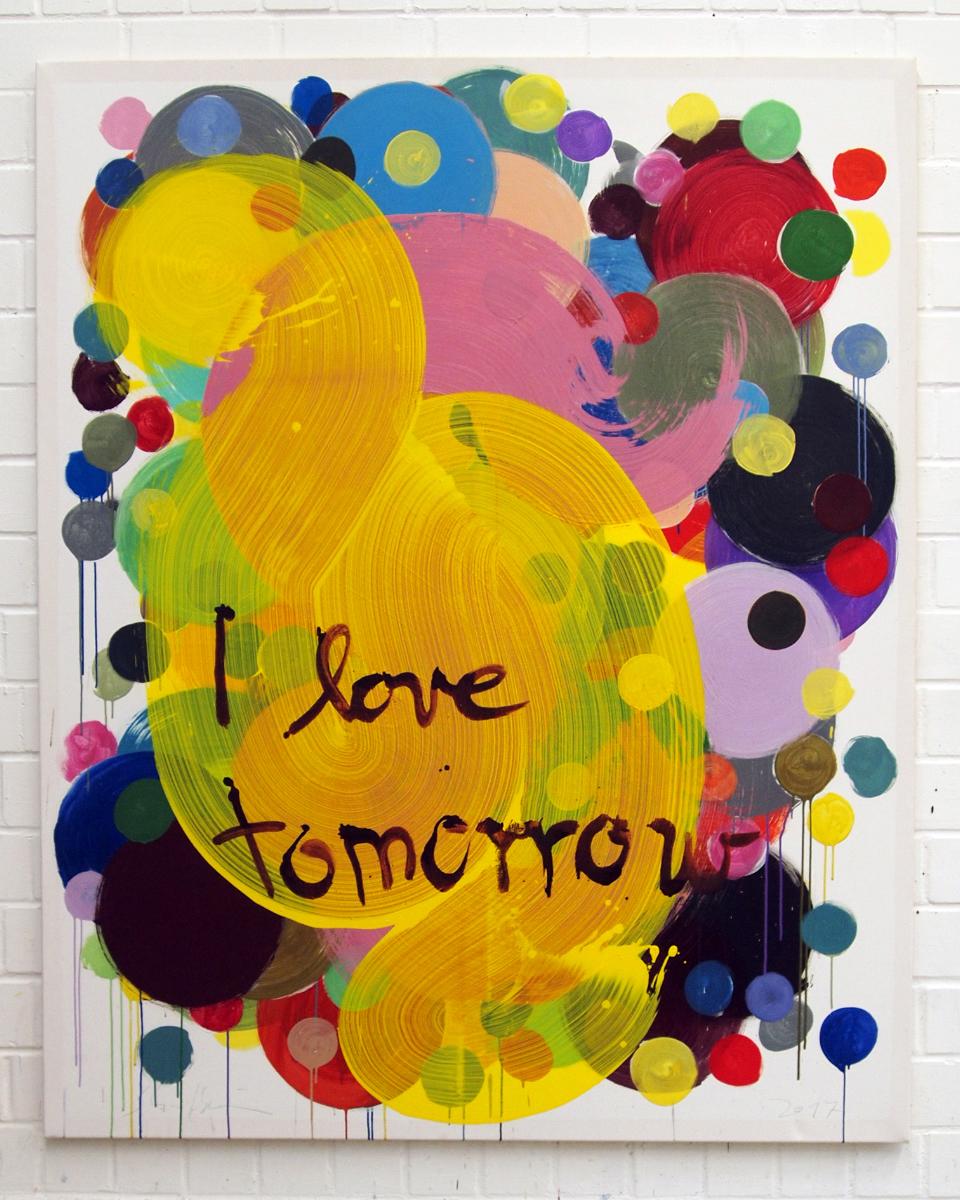 I love tomorrow, 2017, Egg-tempera & Acryl on canvas 185 x 150 cm, 4.800 €