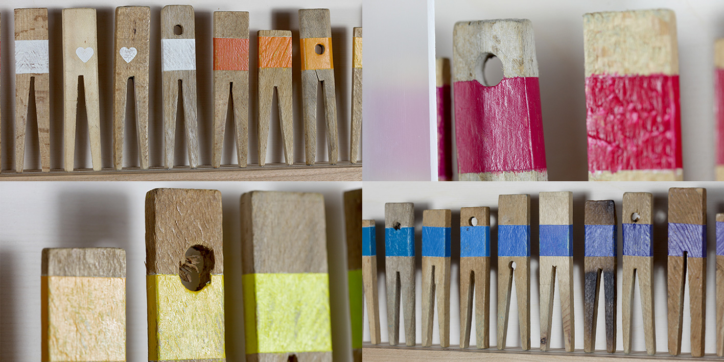 COLORFUL SOCIETY Vintage wood clothing pins (age: from the 40's or earlier), natural cherry frame 155 x 16 cm 2013 Photo: Ignatz Deckardt, 1,700 €