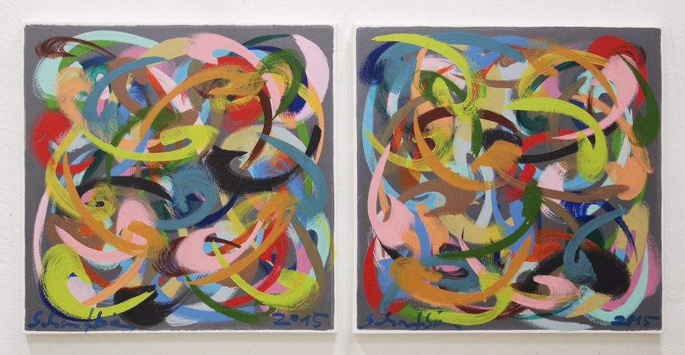 O.T (GELBE VERSUCHUNG AUF GRAU), diptych, each 80 x 80 cm, egg tempera on canvas, 2015, copyright: VG-Bildkunst, 3.200 €