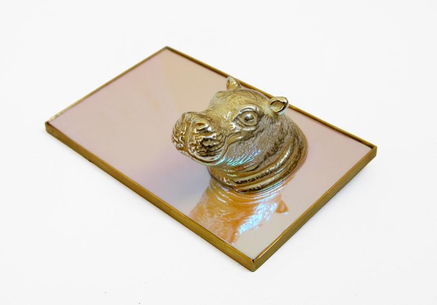 trophy pt.2 -it's a hippo! silver galvanoplasty, steel, brass, irisfilm, 520 €