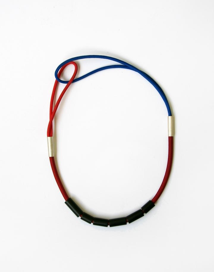 cord necklace, textile, acrylic, silver 925, 2014, 240 €