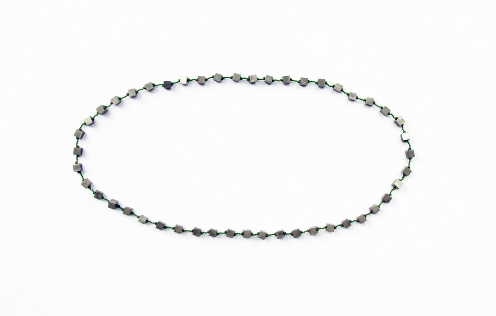cube necklace, silver 925, nylon, 2015, 790 €