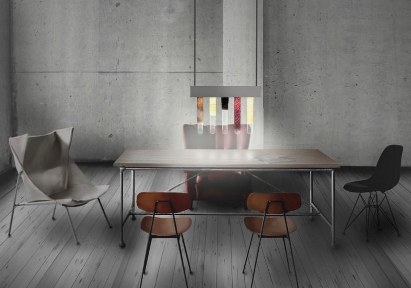 Spandix, Aluminium, Glaskolben, Stoff, Leuchtmittel, 2012, 1.200€