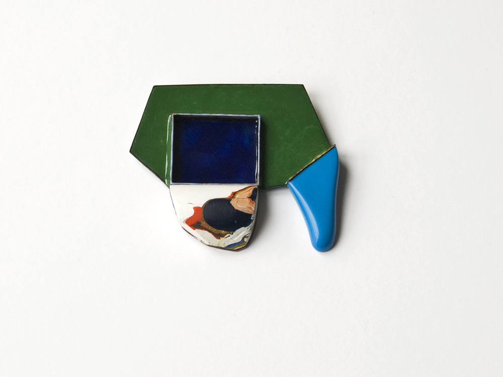 brosche blue drop, L´art pour L´art, 2013, enamel on copper, dried acrylic colour, reconstructeder stone, silver, stainless steel, 70 x 60 mm, 650 €
