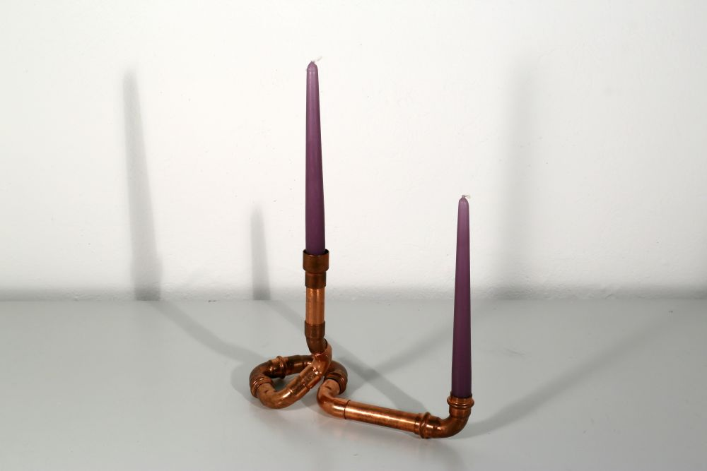two-armed candle holder, recycling copper, 30 x 22 x 14 cm, 2015, 70 €