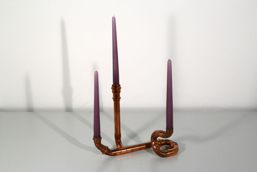 three-armed candle holder, recycling copper, 29 x 22 x 13 cm, 2015, 95 €