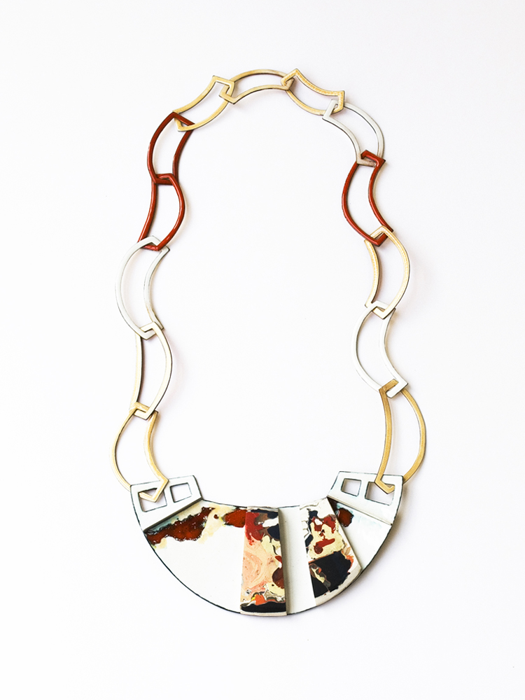 necklace without title, l´art pour l´art, 2014, enamel on copper, dried acrylic colour, silver, main element: 140 x 70mm, L: 60cm, 850 €