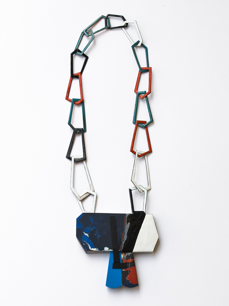 necklace without title, l´art pour l´art, 2014, enamel on copper, dried acrylic colour, colour on wood, reconstructed stone, perlsilk, main element: 100 x 90mm, L: 60cm, 900 €