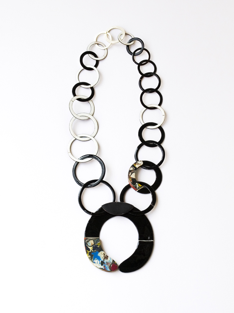 necklace round neck, l´art pour l´art, 2014, enamel on copper, dried acrylic colour, silver, main element: 80 x 80 mm, L: 50cm, 850 €