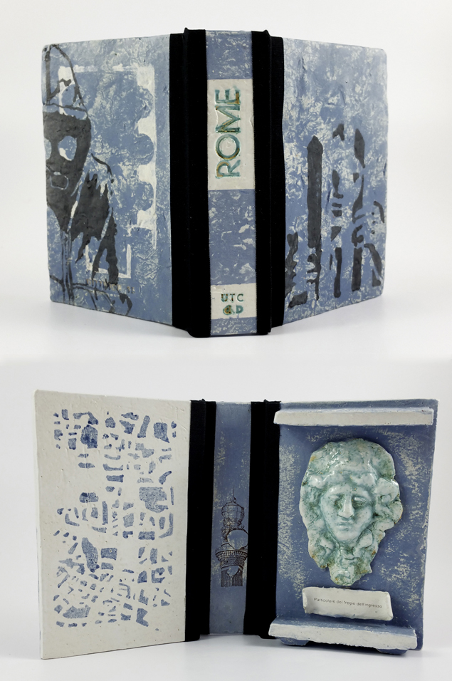 Rome/blue, Urban Treasure Collection, ceramic, technique, underglaze, glaze, Costum Decals, linen bookcloth, 2015, 380 €