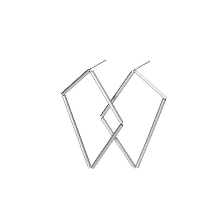 earring & stud facetta, nature and gold, aluminium pipe, anodized, nylon, silver, small (4cm), 60 € medium (5,5cm), 60 € big (7,5cm), 75 €