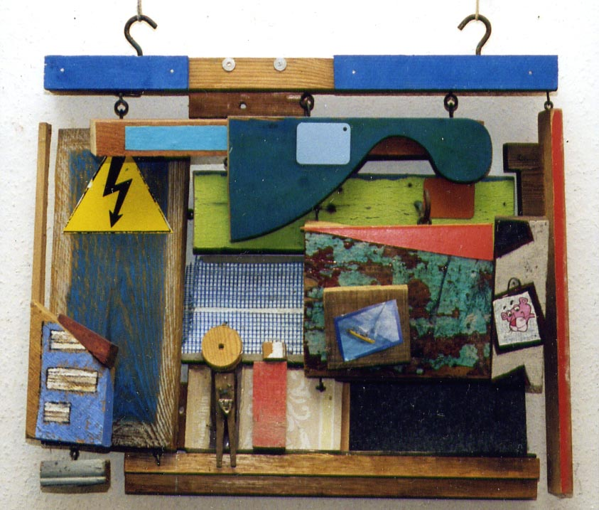 Stadt mit Blitz, wood, plastic, 57 x 61 cm, 2000, 420 €