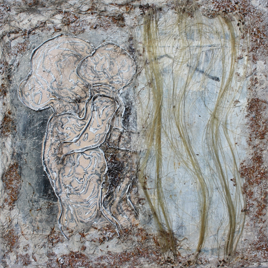 Ohne Titel 14-25, 2014, acrylic, mixing technique, hemp, scrap metal, champagne chalk, linoleum print, steel wool on canvas, 40 x 40 cm, 960 €