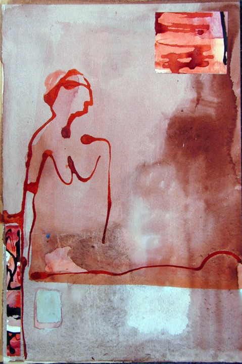 Lilith, ink on cardboard, 2 collage parts, 1985, 34 x 51 cm, 450 €