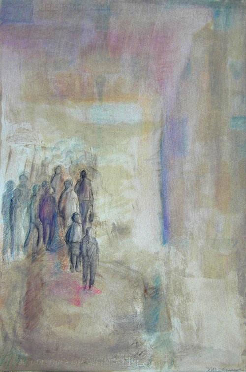 Erwartung, jaxon chalk on paper, 32 x 47 cm, 1986, 400 €