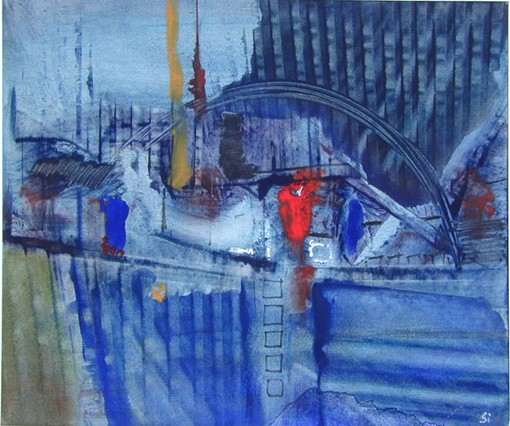 In der Stadt, acrylic on paper, 37 x 31 cm, 1988, 400 €