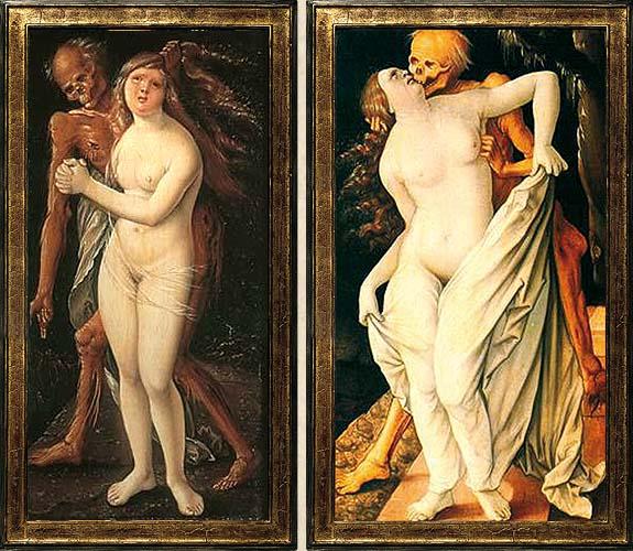 Hans Baldung Grien, Tod und Weib, 1517. Als Verfolger, Liebhaber und Warner mit dem Stundenglas tritt der Tod auf Baldungs Bildern an die Frau heran. Als Kontrast zu ihrer blühenden Schönheit, aber wohl auch, weil die Frau das Leben gebiert.