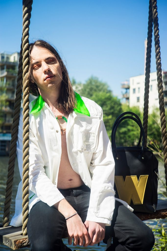90ies blazer and bag by Walter Van Beirendonck, necklace by Copper Elements Berlin