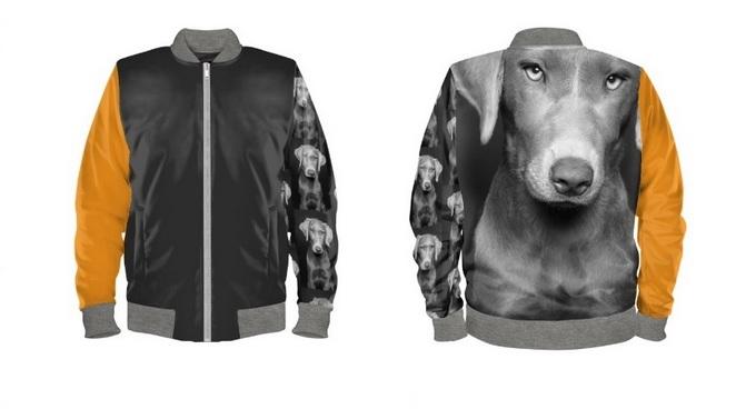 Weimaraner, Labrador Tierfreunde Hunde Bomberjacke Digitalprint Familie Freunde