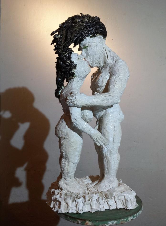 Paar Andreas Brunolupo Berliner Bildhauer Ton Skulptur Art Brut Keramik Psychiatrie