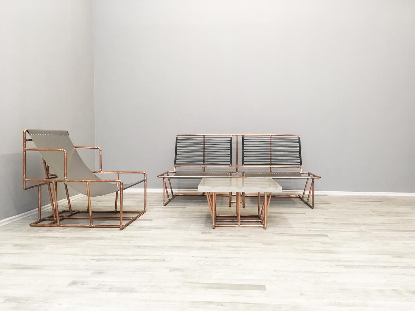 J.A.W. Hofmann Design Kupfer Stahl Möbel Interior