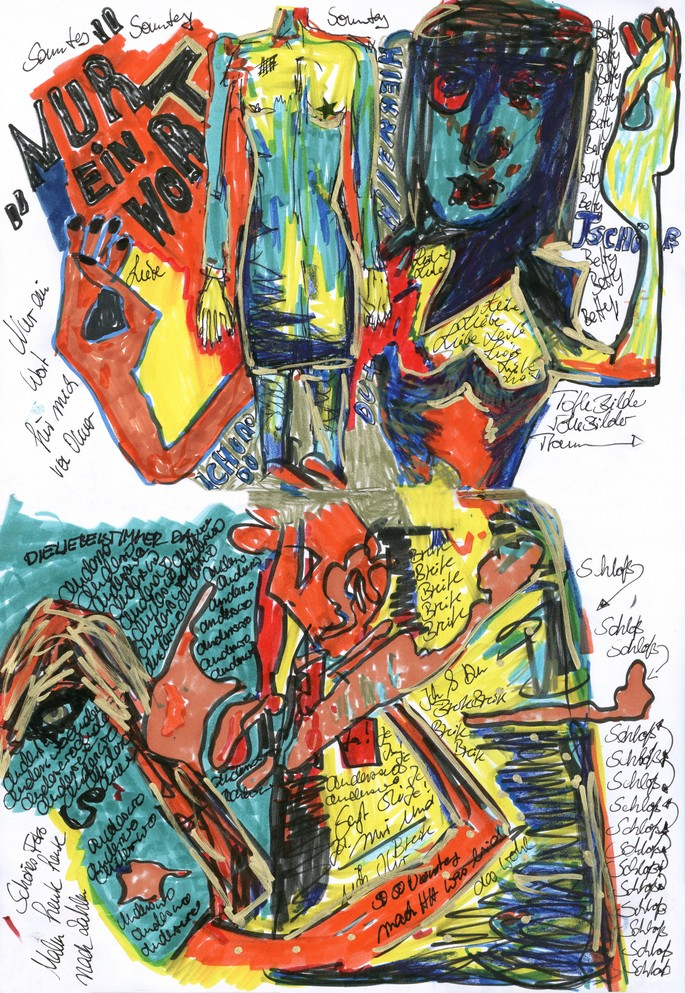 Dafne B Berlin Bomberjacke Kunst Collage Malerei Poesie