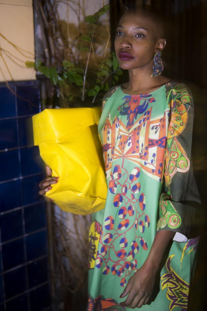 Pflanze grün Hipster Nacht Leinen Kleid Blumentopf Mitte