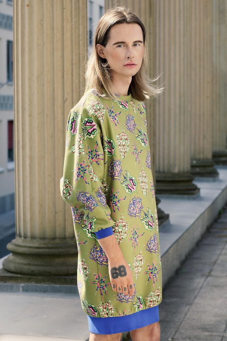 Kaschmir grün Tunikakleid Handarbeit handmade
